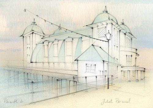 Architectural sketch, Penarth Pier, Cardiff, hand drawn, traditional, pencil,