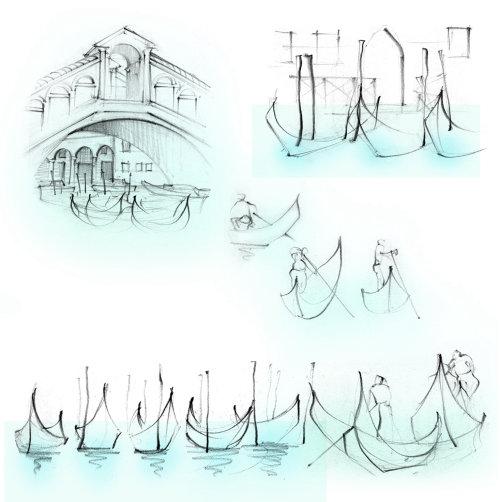 italy, travel, sketchbook, Rialto Bridge, gondolas, Venice