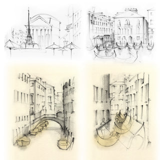 Italy, travel, Venice, gondolas, canal, travel sketch