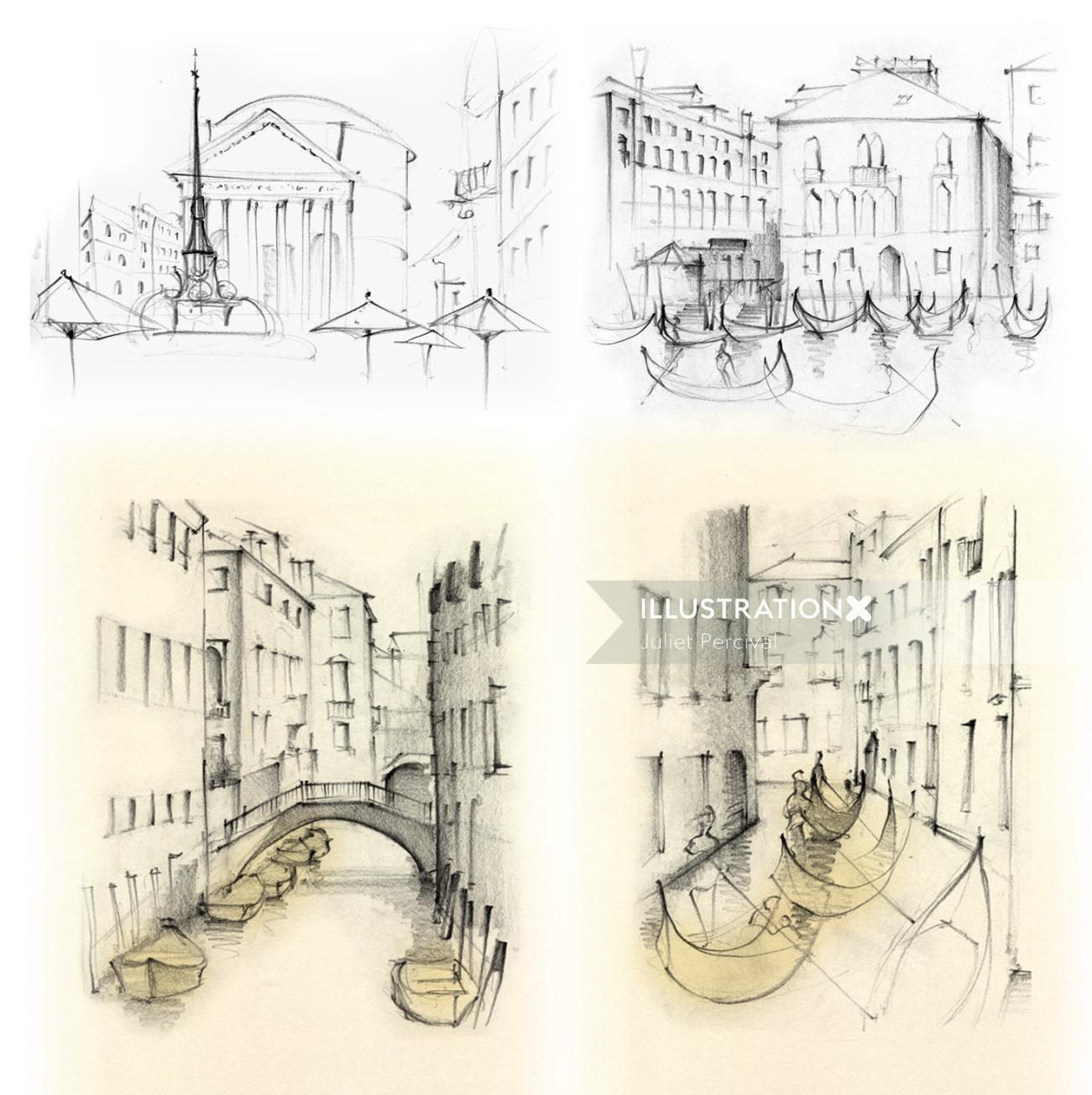 Italy, travel, Venice, gondolas, canal, travel sketch