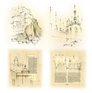 Italy, travel, Milan, Duomo, travel sketch. Manarola, Rome, fishing village, pencil, traditional