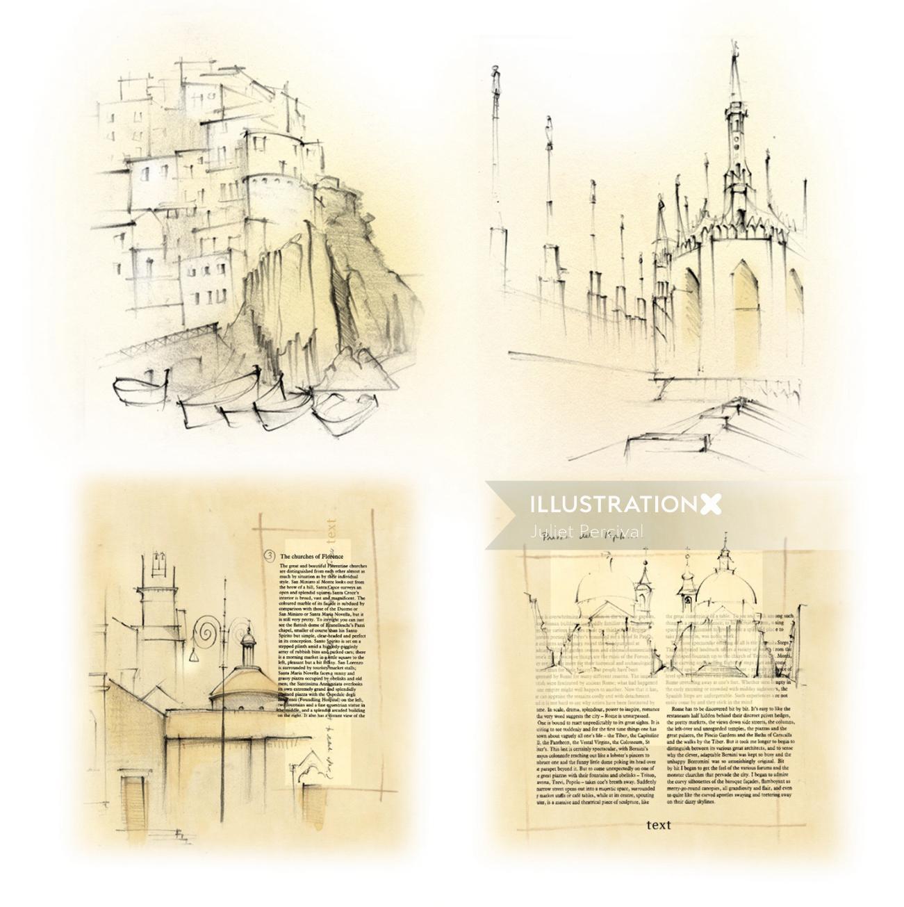 Italy, travel, Milan, Duomo, travel sketch. Manarola, Rome, fishing village, pencil, traditional