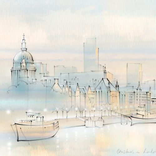 Thames, London, riverboat, St Paul's, winter, Christmas