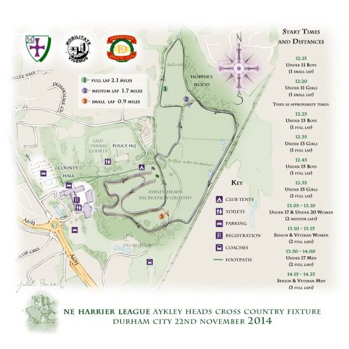 map, Harrier League, Durham, Aykley Heads, Cross Country, race, hand drawn