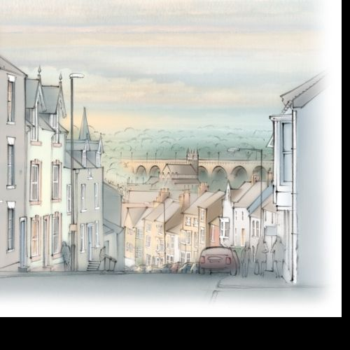 Claypath, Durham - Architectural illustration