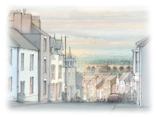 Claypath, Durham - Architectural illustration