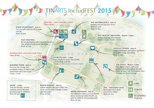 bunting, hand drawn, south park, art festival, Darlington, map, arts