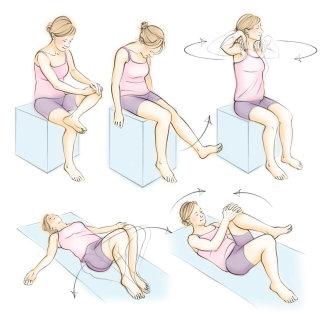 gentle exercises, female, girl, floor mat, side twist, leg raise, figure