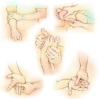 self massage, hands, fingers, foot