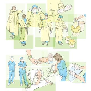 hospital hygiene, nurse, doctor, washing hands, plastic overall, waste disposal