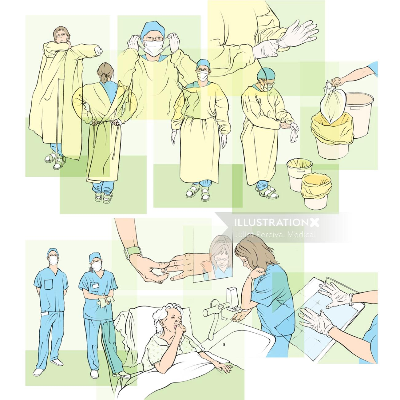 hospital hygiene, nurse, doctor, washing hands, plastic overall, waste disposal