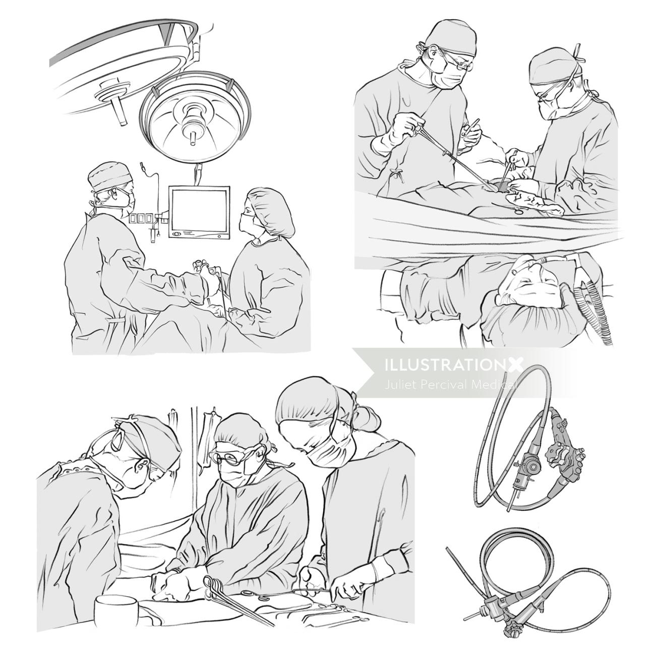 Colon surgery, operating theatre, surgeons, doctor,