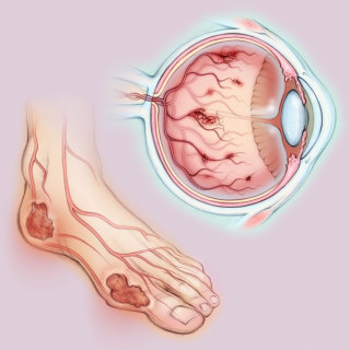 diabetes, eye, anatomy, medical illustration, foot
