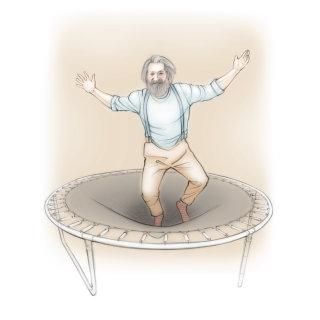 trampoline, man, elderly, pensioner, jumping, energetic