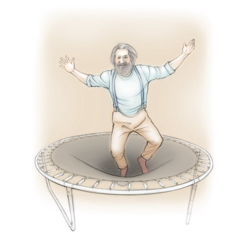 trampoline, man, elderly, pensioner, jumping, energetic