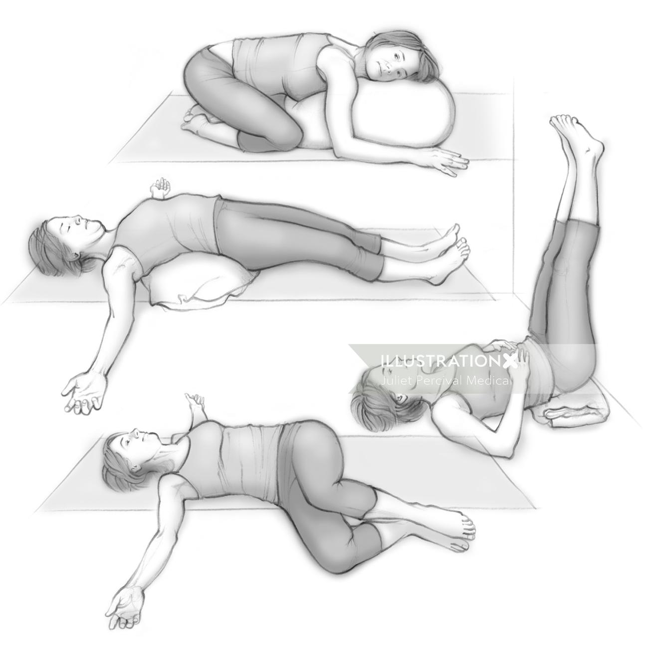 "Miscellaneous exercise pose artworks for ""Mind Body Baby"""
