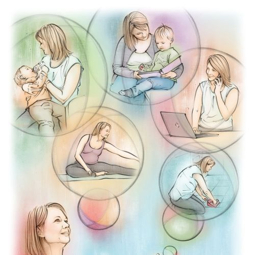 woman, pregnancy, juggling, exercise, housework, mother