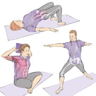 yoga, exercise, stretching, healthy, fit, bridge pose, warrior pose, anatomy, skeleton
