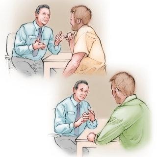 doctor, patient. consult, interview, communicate, male, men, talking