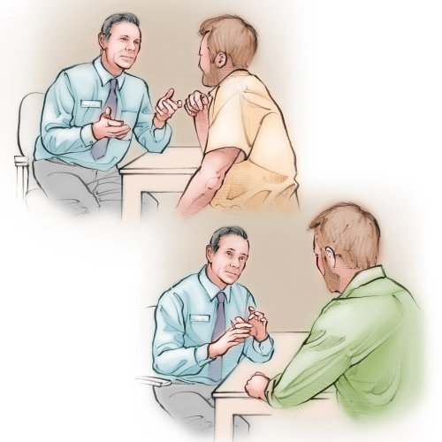 doctor, patient. consult, interview, communicate, male, men, talking