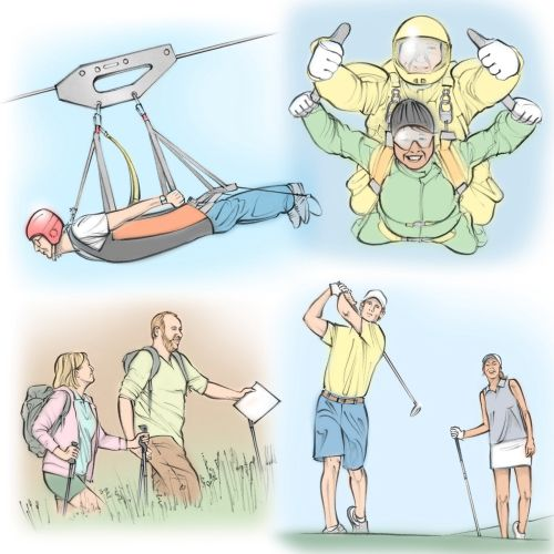 outdoor activities, zip wire, sky diving, golf, hiking, people