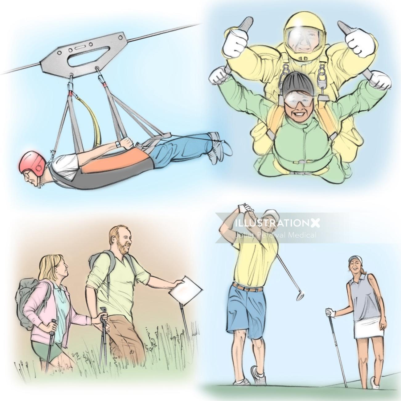 outdoor activities, zip wire, sky diving, golf, hiking, people