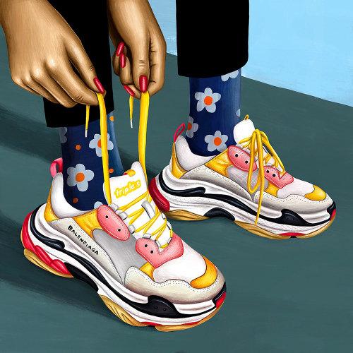 Ilustração gráfica de sapatos Balenciaga