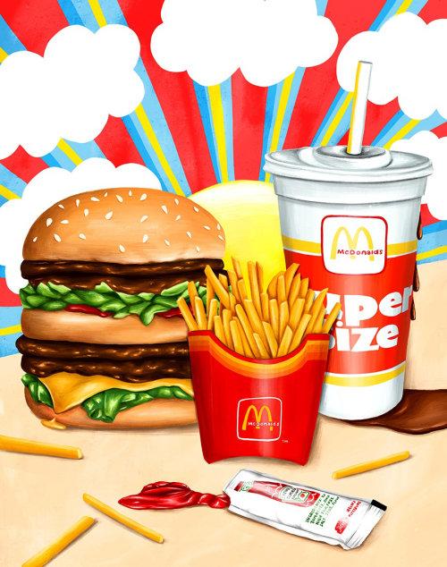 Ilustração de comida para o McDonald's por Juliette Toma