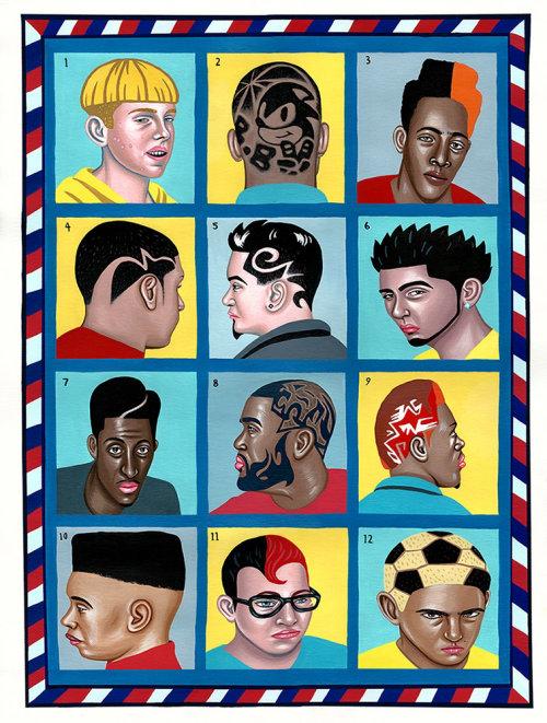 Retratos de pessoas diferentes em um quadro