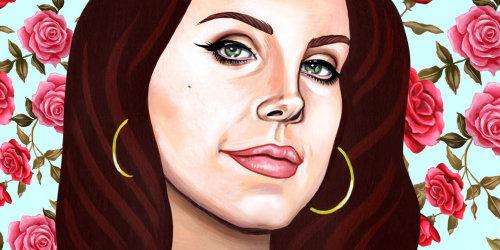 Arte do retrato de Lana Del Rey para Pitchfork.