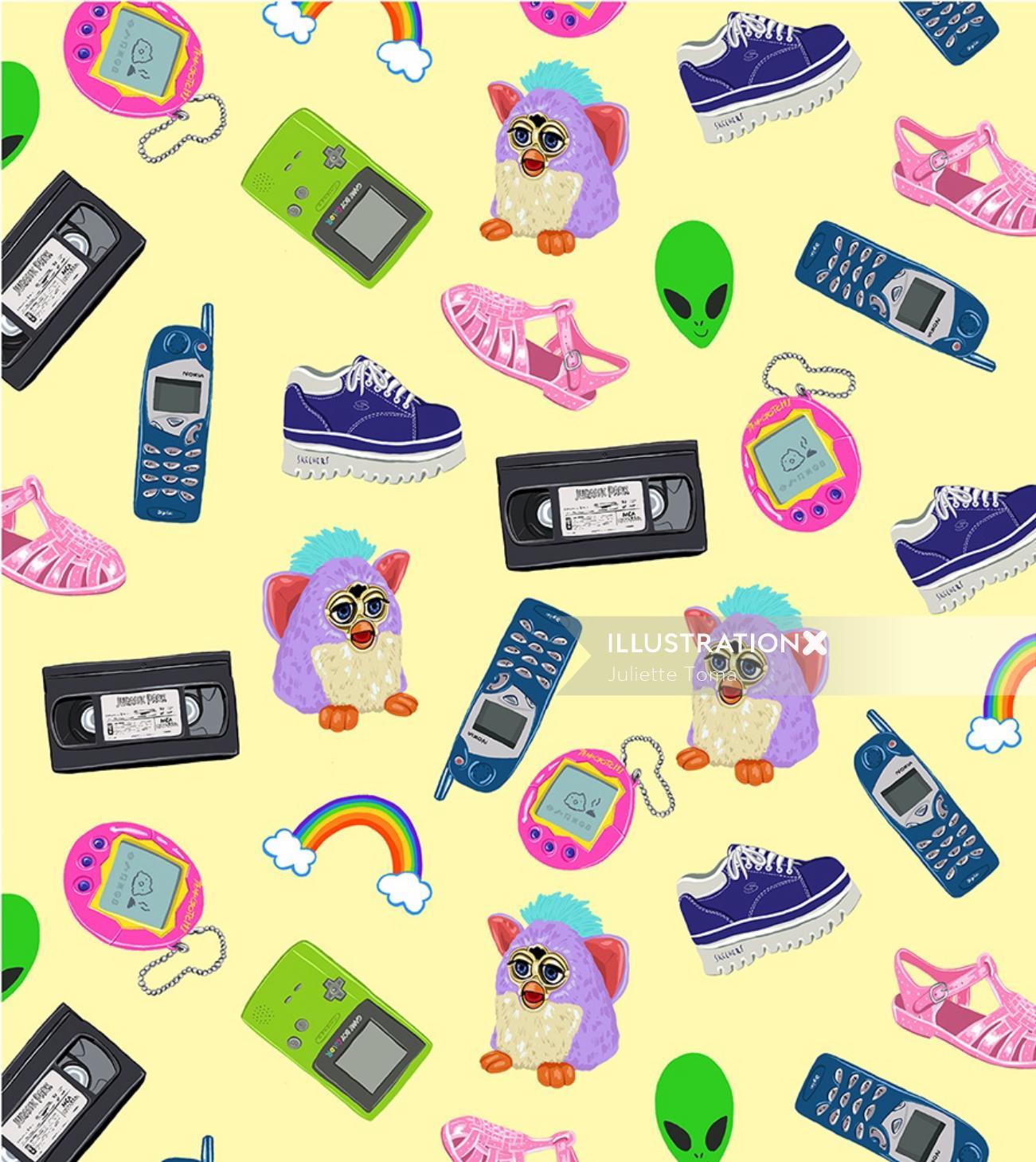 Graphic illustration of children toys
