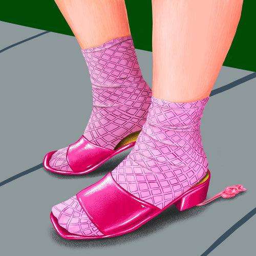 Arte de moda de sandálias de menina