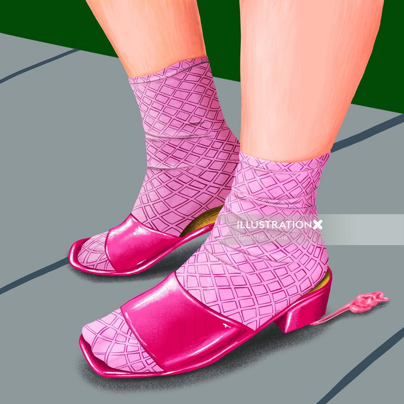 Girl sandals fashion artwork