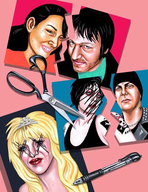 Illustration of music people for Gusher Magazine