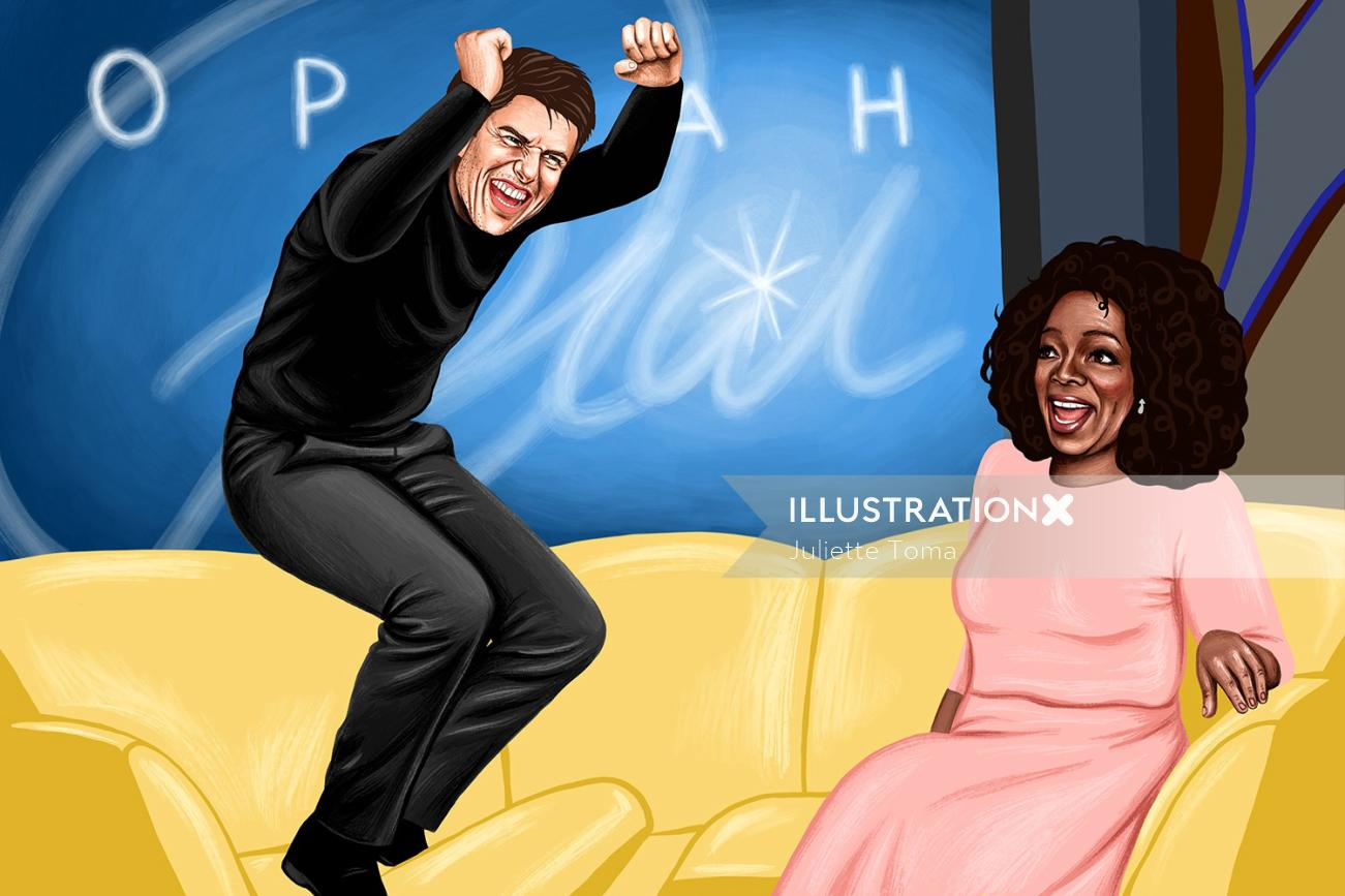Digital painting of Tom Cruise and Oprah
