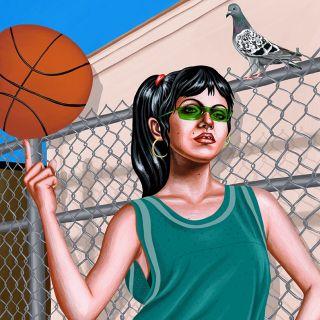 Girl with basketball digital painting
