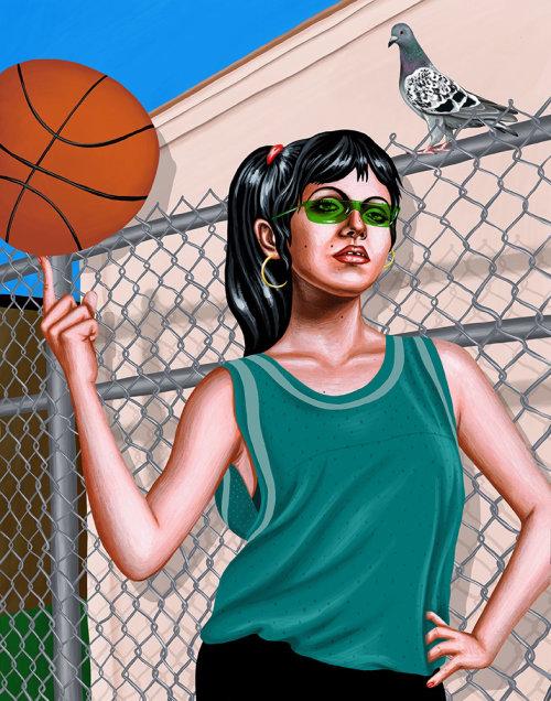 Menina com pintura digital de basquete