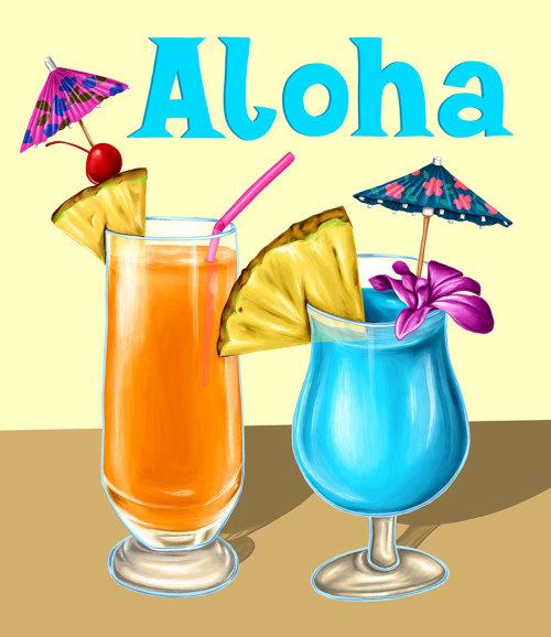 Aloha bebida pintura digital