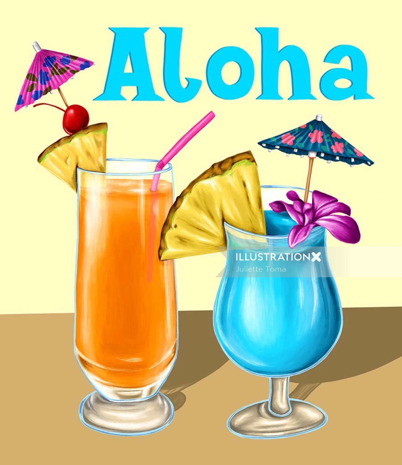 Aloha drink digital painting