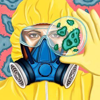 Editorial illustration of Working in lab for Junior Scholastic Magazine