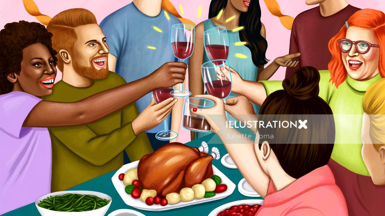 Digital painting of Thanks giving party