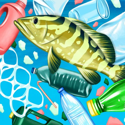 Conceptual illustration of plastic pollution underwater