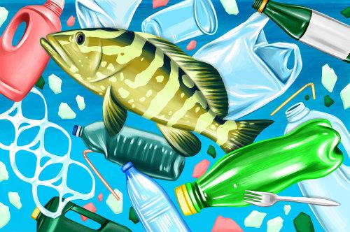Ilustração conceitual de poluição plástica debaixo d'água