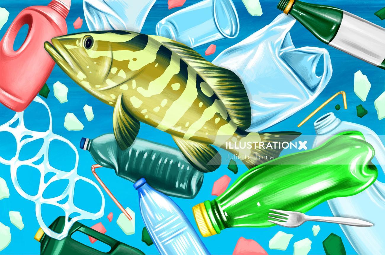 Conceptual illustration of plastic pollution underwater