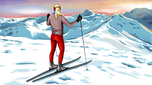 Skiing woman realistic painting