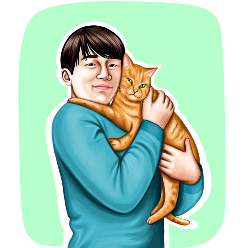 Portrait of a man holding Cat