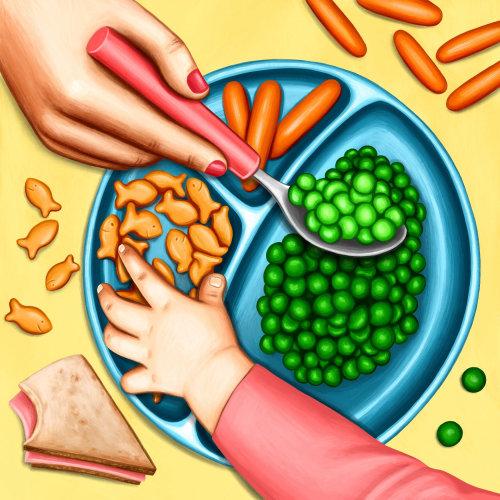 """Ilustração da parentalidade nyt sobre o método de alimentação """"divisão de responsabilidade"""""""