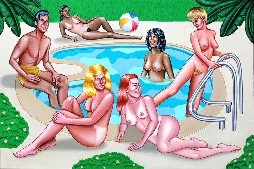 Nude people relaxing in pool