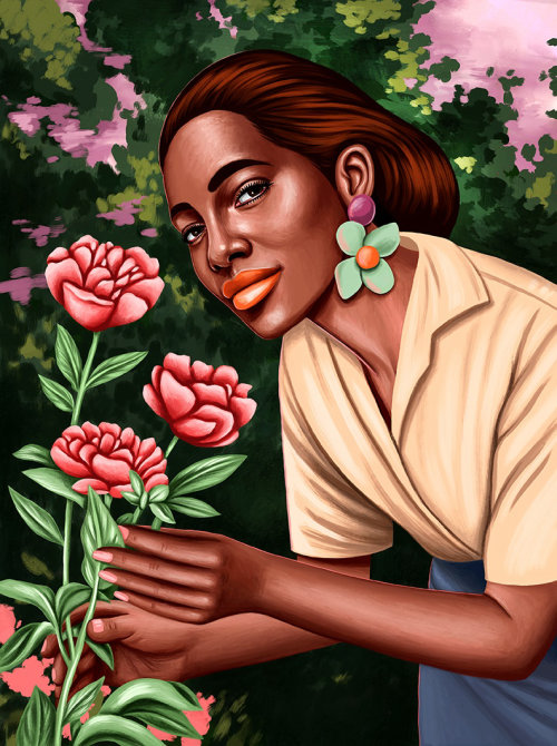 Portrait illustration of girl smelling all flowers