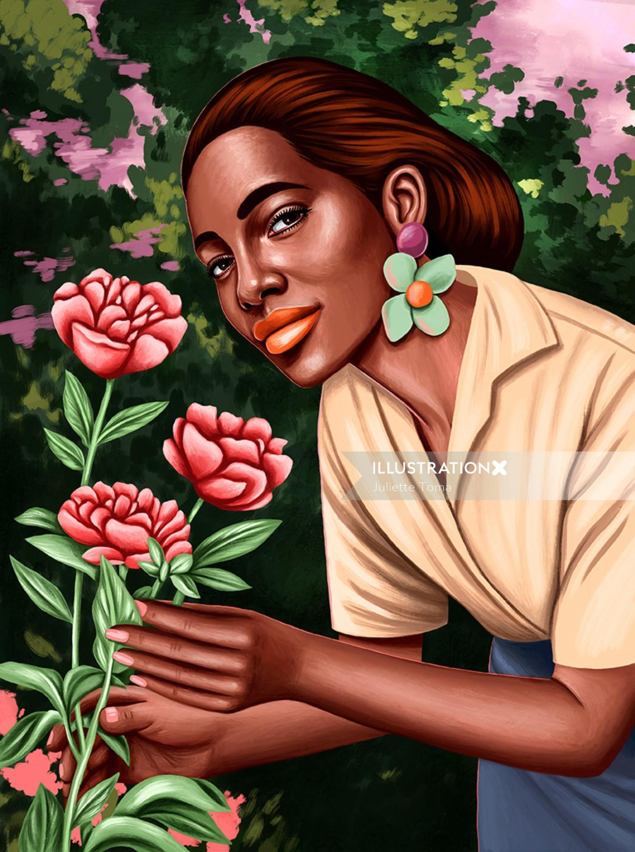 Portrait illustration of girl smelling all flowers
